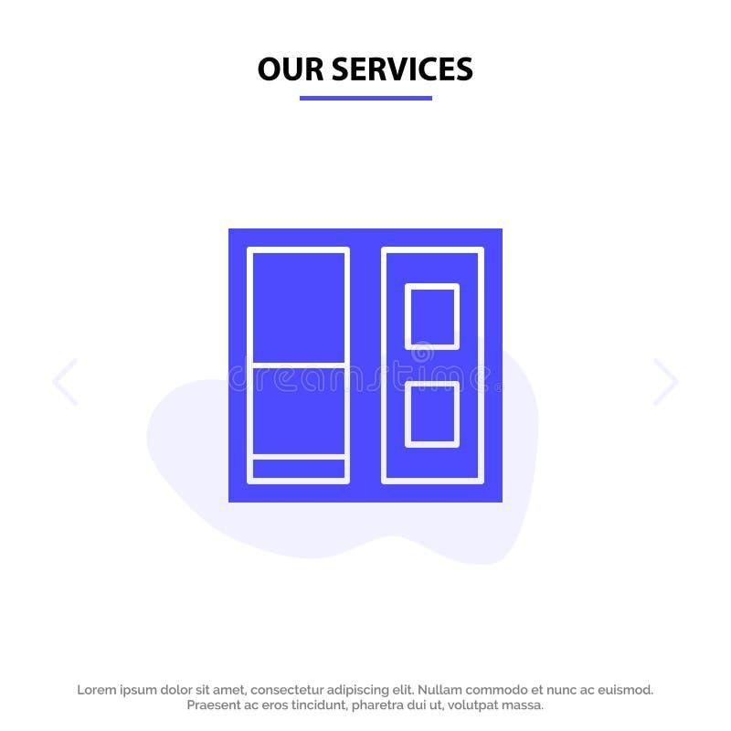 Onze Diensten die, Huis, van het het Pictogramweb van Deur Stevig Glyph de kaartmalplaatje bouwen stock illustratie