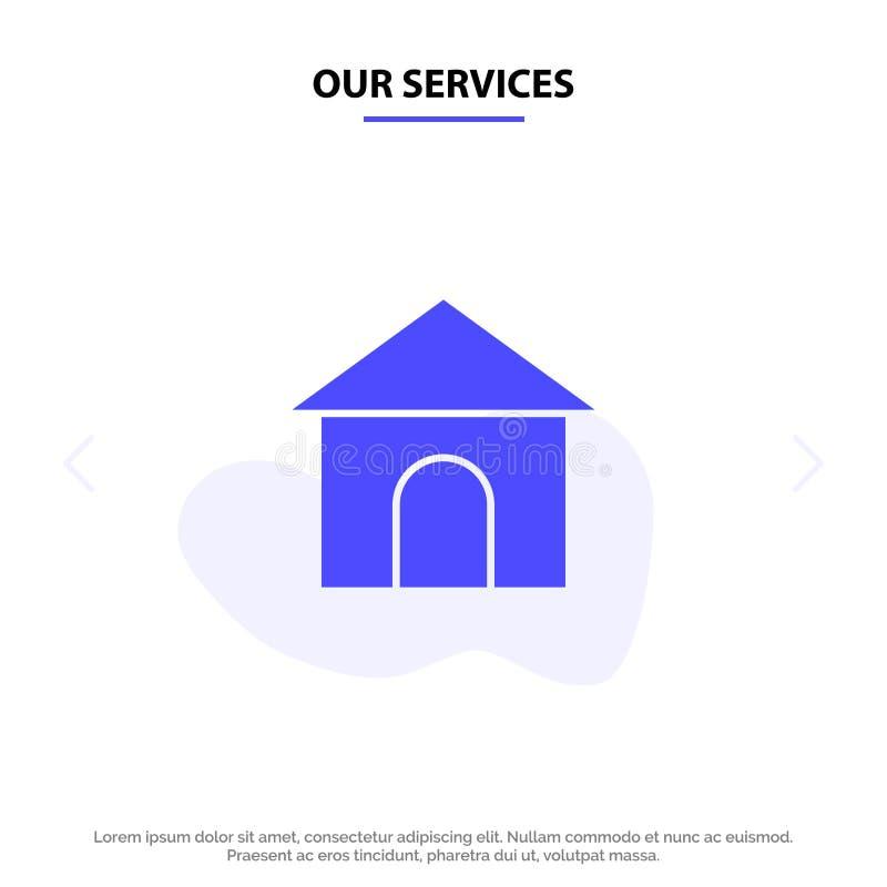 Onze Diensten die, Slang, Huis, van het het Pictogramweb van Winkel Stevig Glyph de kaartmalplaatje bouwen stock illustratie