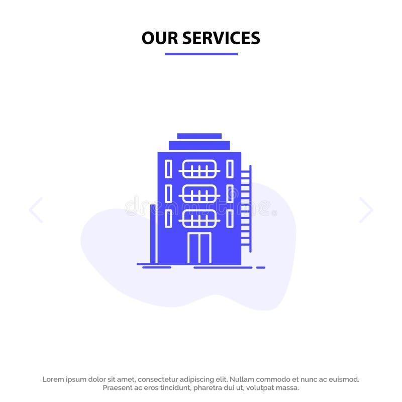 Onze Diensten die, Stad, Slaapzaal, Herberg, van het het Pictogramweb van Hotel Stevig Glyph de kaartmalplaatje bouwen vector illustratie