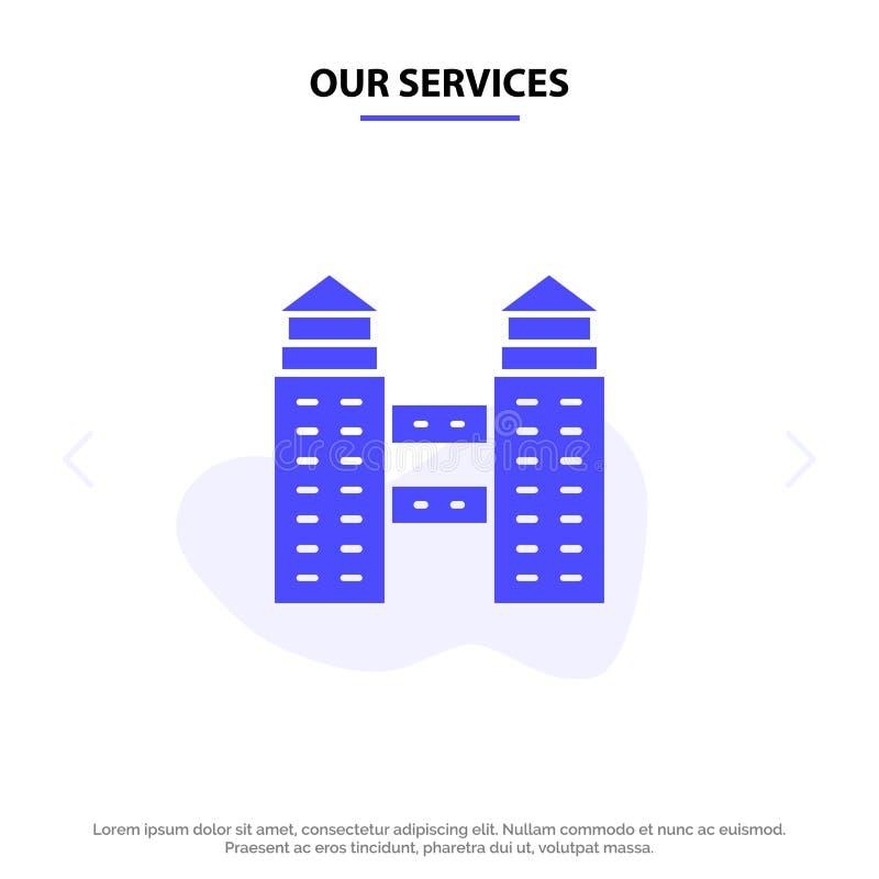 Onze Diensten die, Stad, van het het Pictogramweb van Bouw Stevig Glyph de kaartmalplaatje bouwen vector illustratie