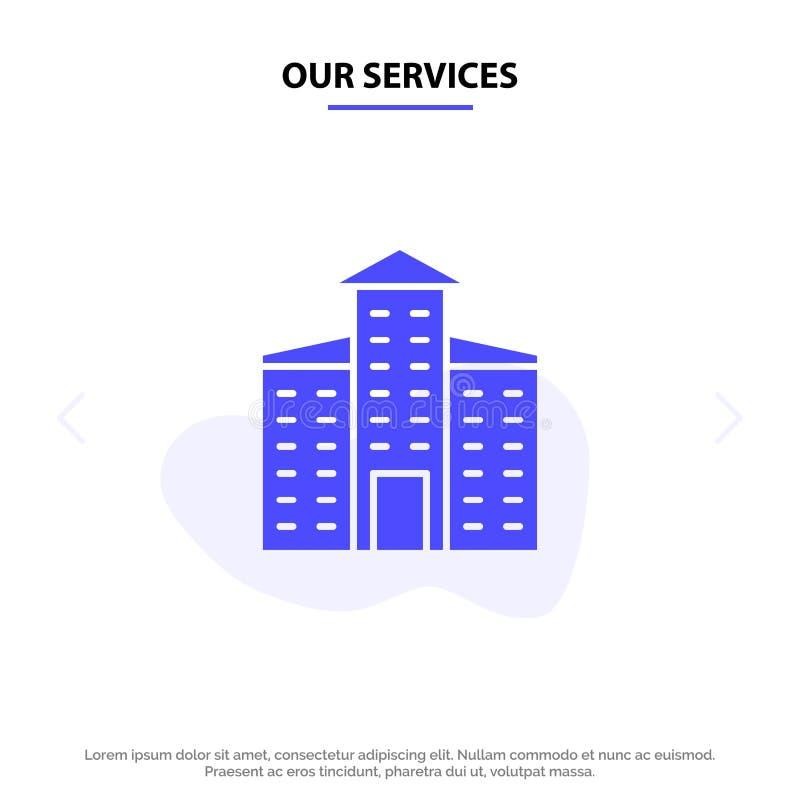 Onze Diensten die, Stad, van het het Pictogramweb van Bouw Stevig Glyph de kaartmalplaatje bouwen stock illustratie