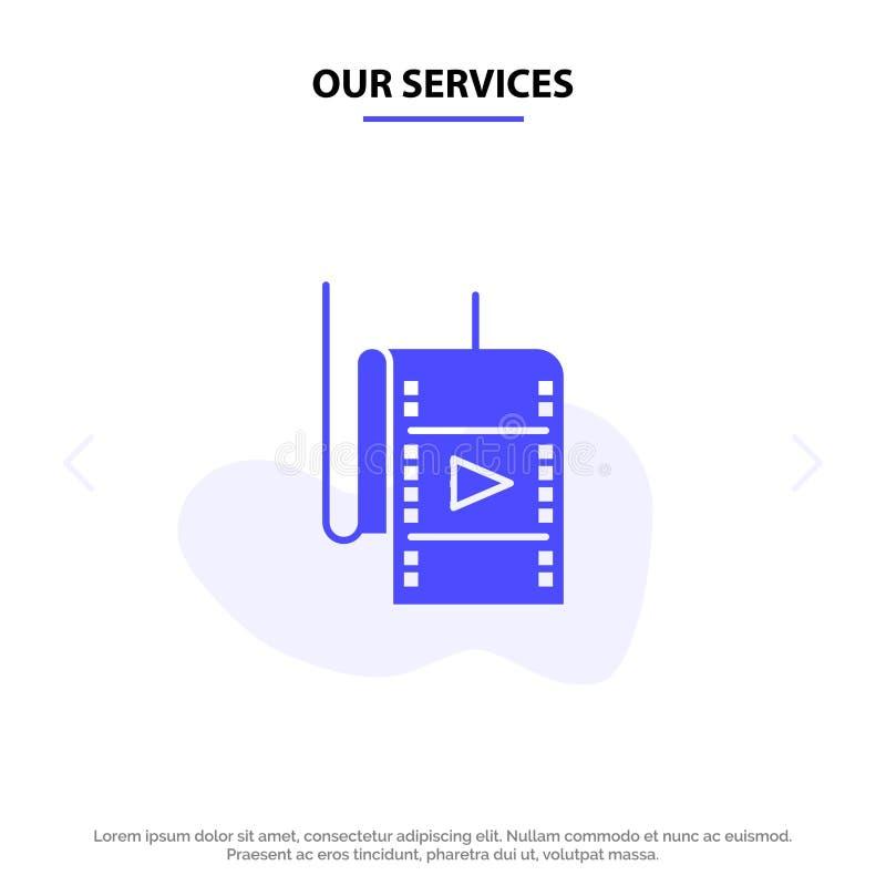 Onze Diensten filmen, Film, Studio, van het het Pictogramweb van Theater Stevig Glyph de kaartmalplaatje vector illustratie
