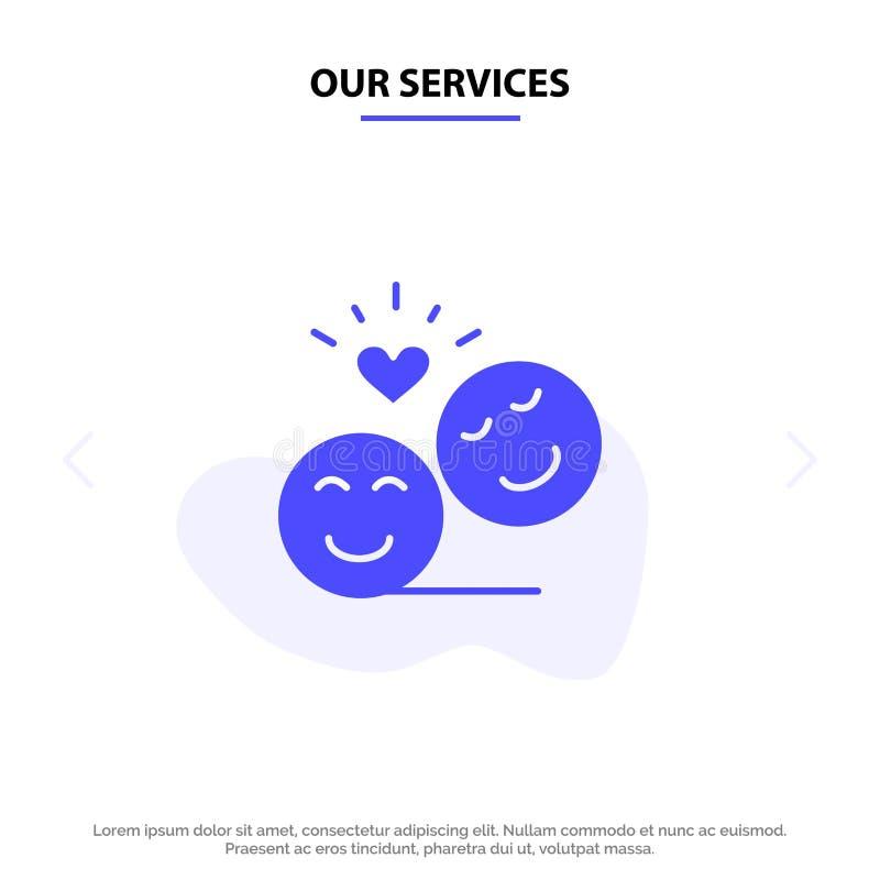 Onze Diensten koppelen, Avatar, Smiley Faces, Emojis, Valentine Solid Glyph Icon Web-kaartmalplaatje stock illustratie