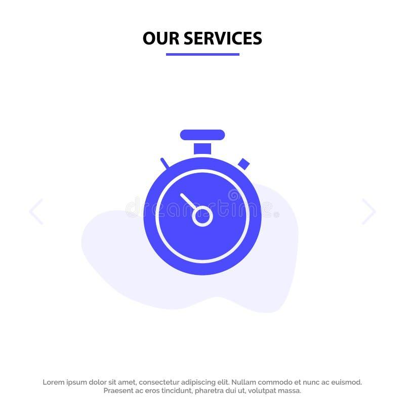 Onze Diensten omringen, brengen, Navigatie, Pin Solid Glyph Icon Web-kaartmalplaatje in kaart royalty-vrije illustratie