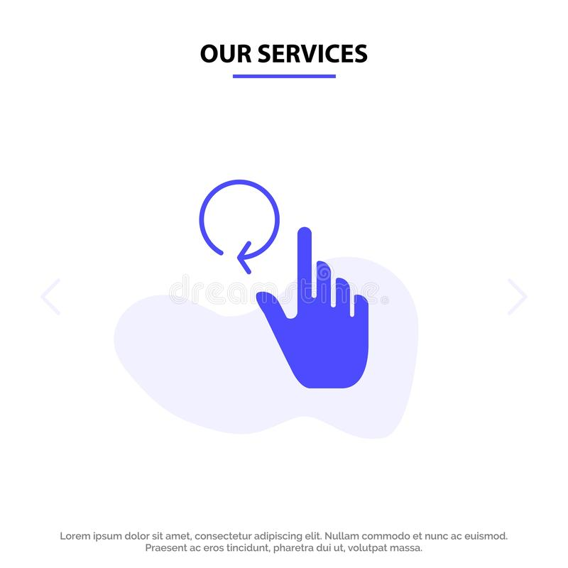 Onze Diensten overhandigen, Vinger, Gebaren, van het het Pictogramweb van Herladen Stevig Glyph de kaartmalplaatje vector illustratie