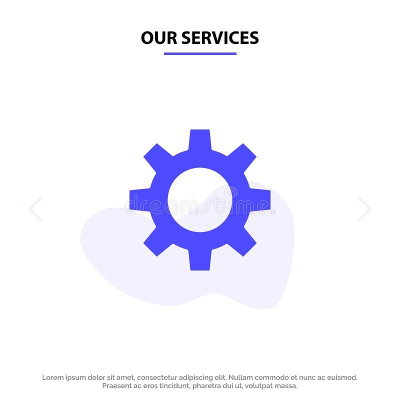 Onze Diensten Romzicon, het Plaatsen, van het het Pictogramweb van Gear Solid Glyph de kaartmalplaatje royalty-vrije illustratie
