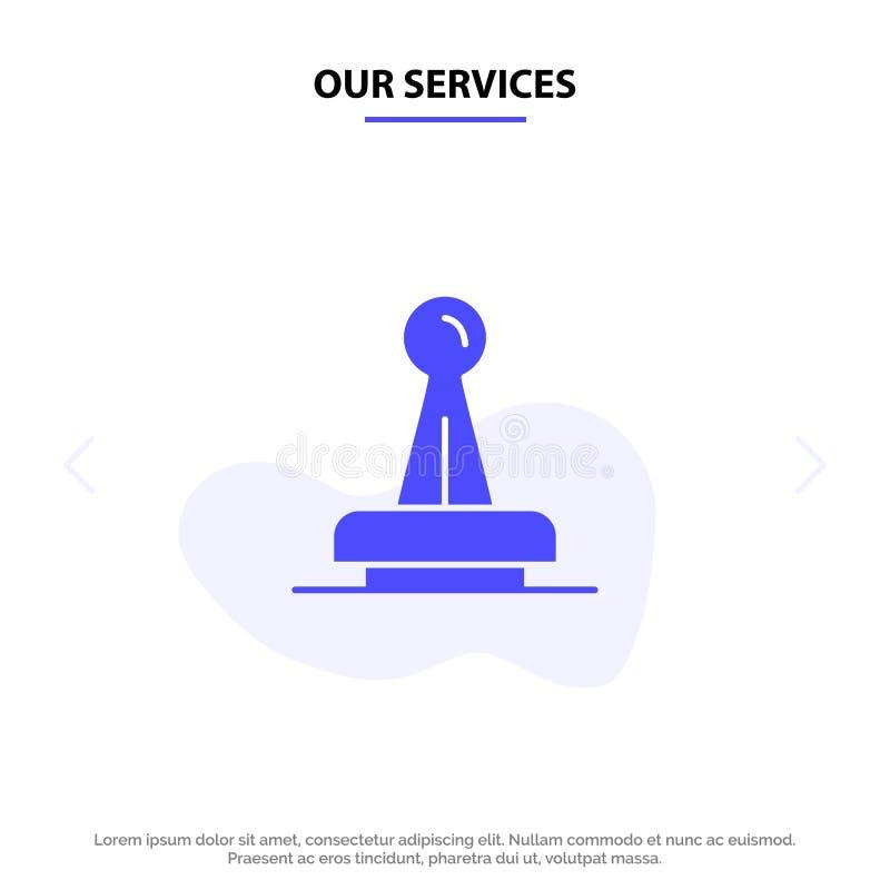 Onze Diensten stempelen, Goedkeuring, Wettelijke Instantie, Teken, Rubber, van het het Pictogramweb van Verbindings Stevig Glyph  vector illustratie
