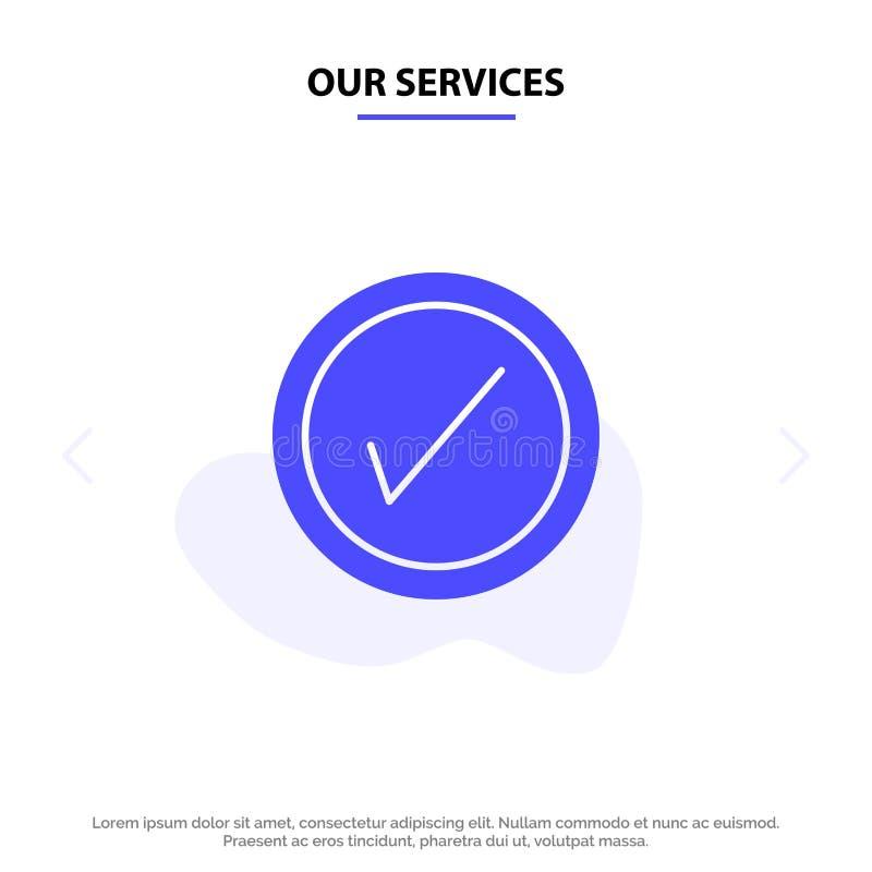 Onze Diensten tikken, Interface, van het het Pictogramweb van Gebruikers Stevig Glyph de kaartmalplaatje vector illustratie