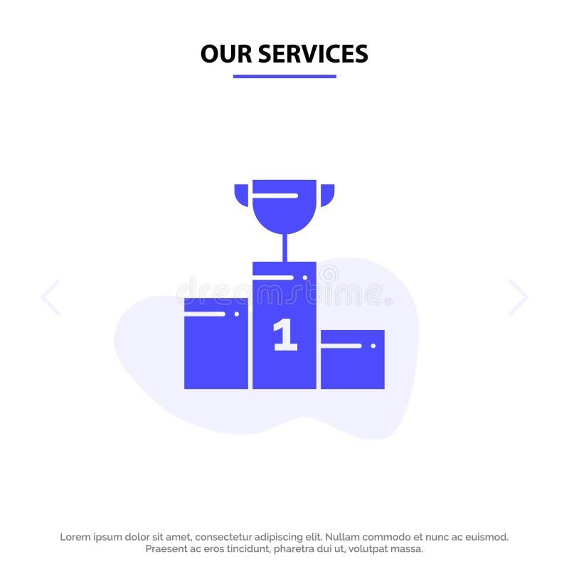Onze Diensten werpen, Ceremonie, Kampioen, Kop, van het het Pictogramweb van Drinkbeker Stevig Glyph de kaartmalplaatje stock illustratie