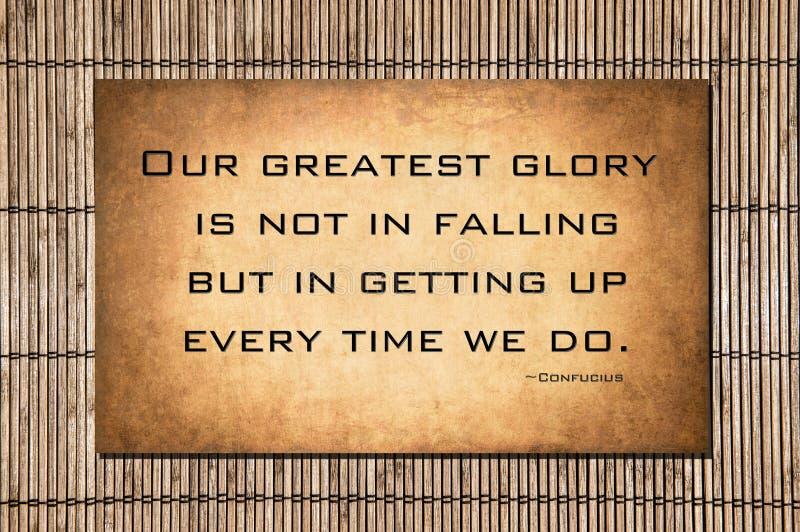 Onze grootste glorie - het citaat van Confucius stock afbeelding