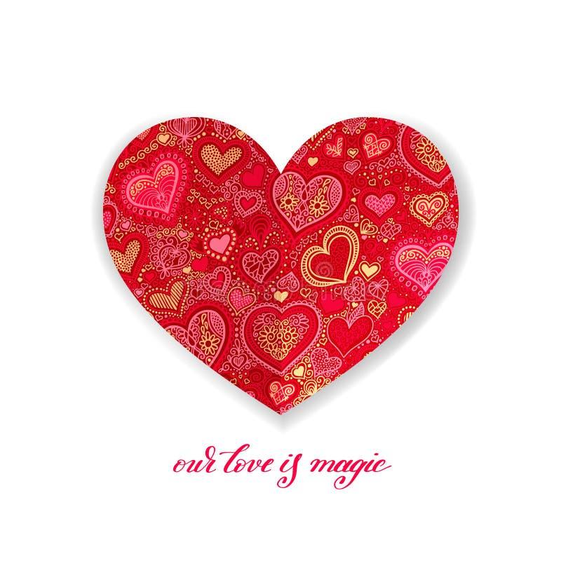 Onze liefde is magisch kalligrafieontwerp met rode document hartvorm vector illustratie