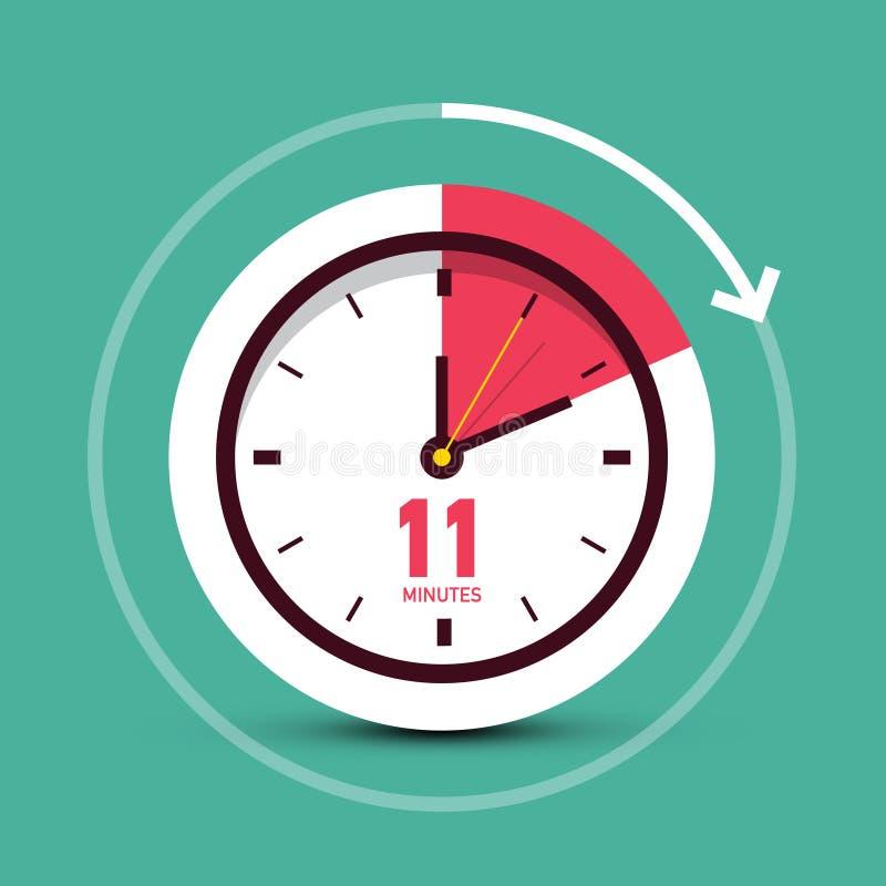 11 onze minutes dirigent l'icône d'horloge illustration stock