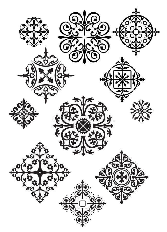 Onze projetos ornamentado ilustração royalty free
