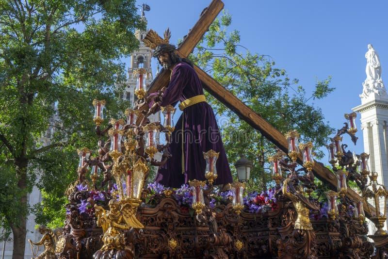 Onze Vader Jesus van de nederigheid van het Broederschap van de Heuvel van Eagle, Heilige Week van Sevilla royalty-vrije stock afbeeldingen