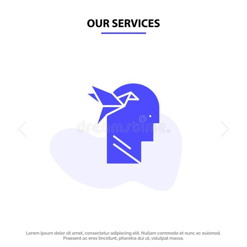 Onze Vorm van de de Dienstenverbeelding, Verbeelding, Hoofd, Brian Solid Glyph Icon Web-kaartmalplaatje stock illustratie