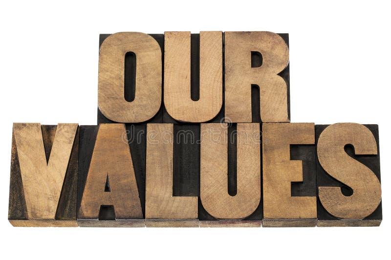 Onze waarden in houten type royalty-vrije stock afbeelding