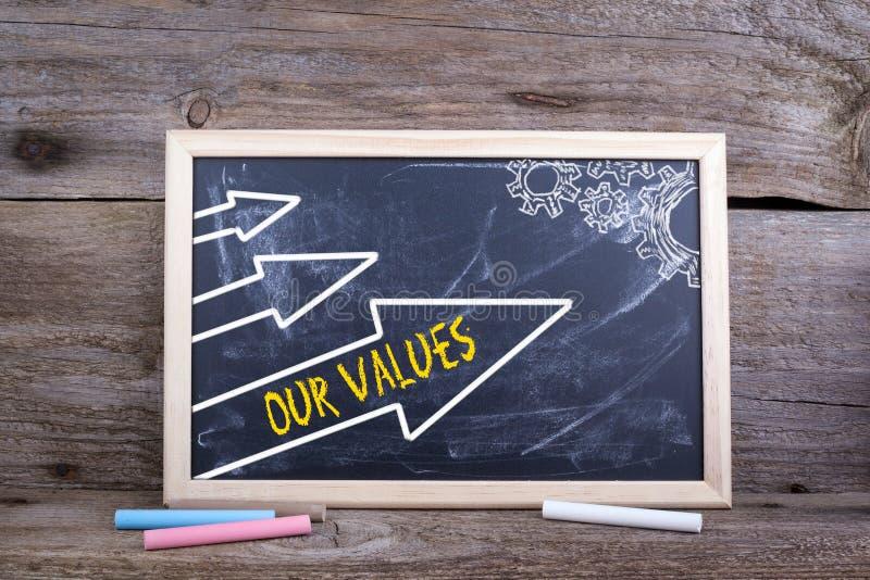 Onze waarden Oude houten achtergrond met textuur en krijtblackbo royalty-vrije stock afbeelding