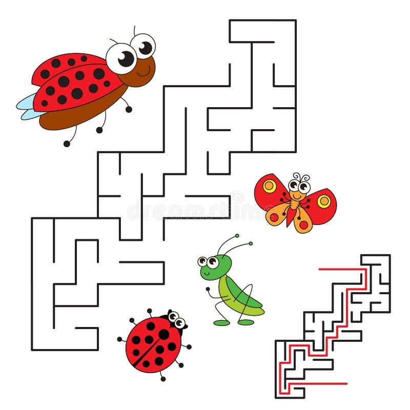 Onzelieveheersbeestje en haar baby Het spel van het jong geitjelabyrint De manier zoek stock illustratie