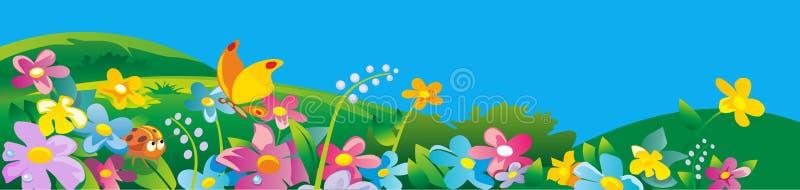 Onzelieveheersbeestje en vlinder Het aardgebied met groen gras, bloemen bij weide en water laat vallen dauw op groene bladeren De royalty-vrije illustratie