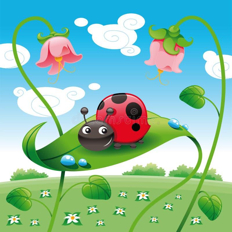 Onzelieveheersbeestje op het blad royalty-vrije illustratie