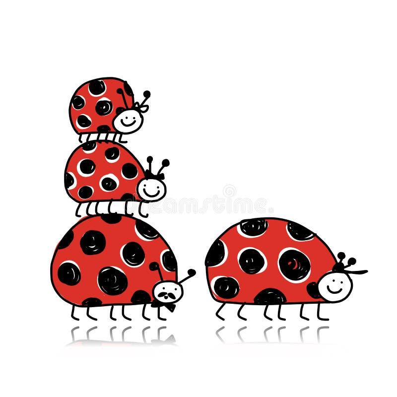 Onzelieveheersbeestjefamilie voor uw ontwerp vector illustratie