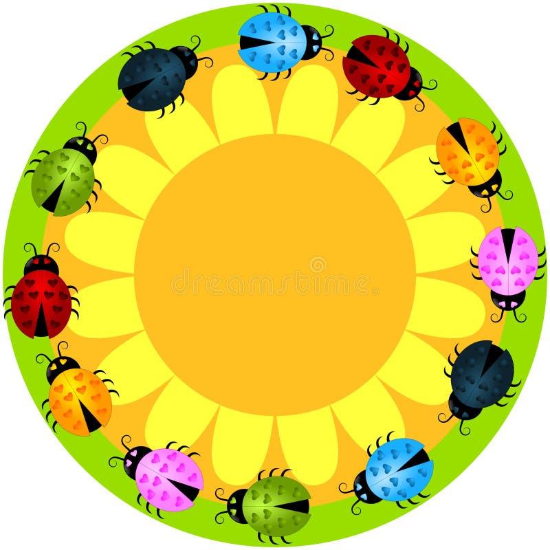 Onzelieveheersbeestjes om bloemkader stock illustratie