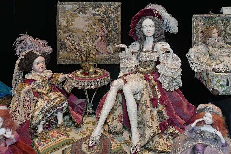 OOAK collectible historical polymeric clay dolls by Valentina Yakovleva stock image
