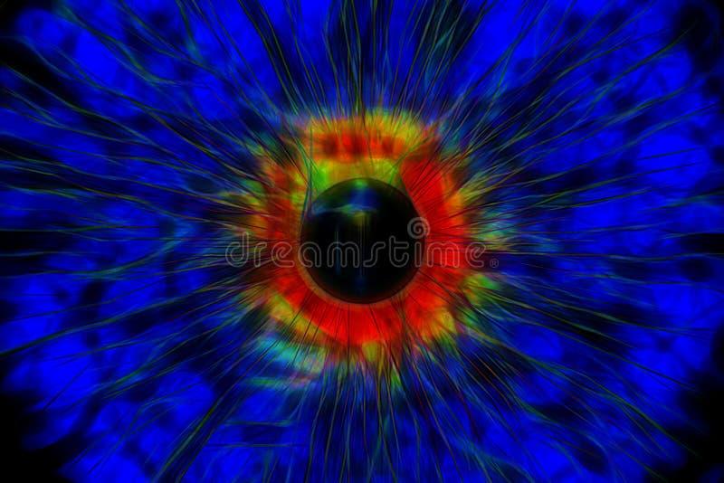 Oog, abstracte digitaal geproduceerde illustratie stock illustratie