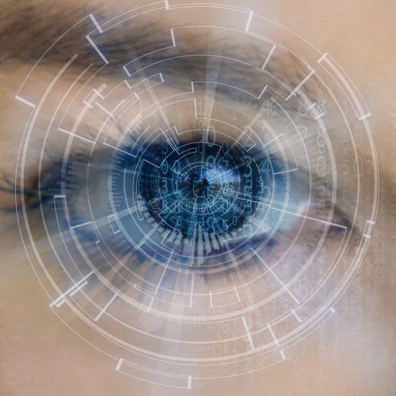 Oog die digitale die informatie bekijken door cirkels wordt vertegenwoordigd vector illustratie