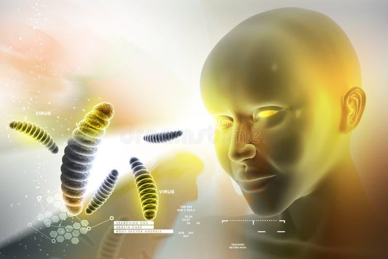 Oog die tegen bacteriën vooruitzien stock illustratie