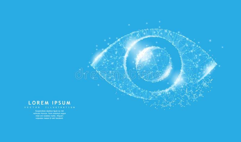 Oog Het veelhoekige pictogram van het wireframenetwerk met afgebrokkelde rand kijkt als constellatie Conceptenillustratie of acht stock illustratie