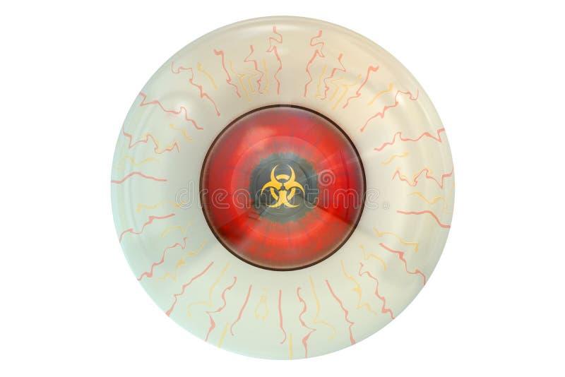 Oog met biohazardsymbool vector illustratie