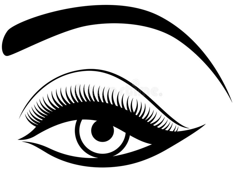 Oog met pluizig ooglid stock illustratie