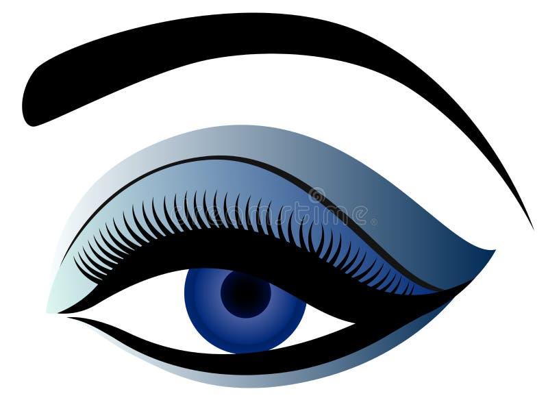Oog met pluizig ooglid in blauwe tinten stock illustratie