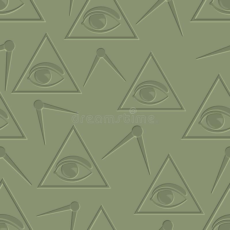 Oog op driehoeksachtergrond vector illustratie