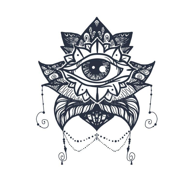 Oog op Lotus Tattoo stock illustratie