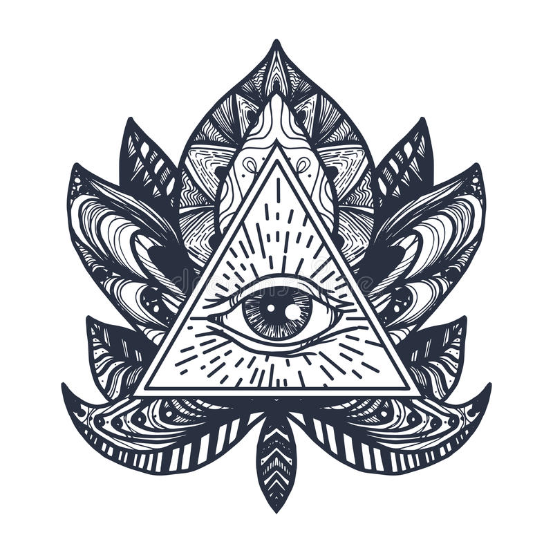 Oog op Lotus Tattoo vector illustratie
