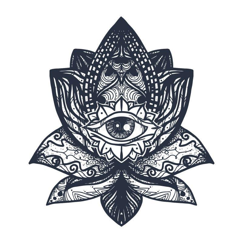 Oog op Lotus Tattoo royalty-vrije illustratie