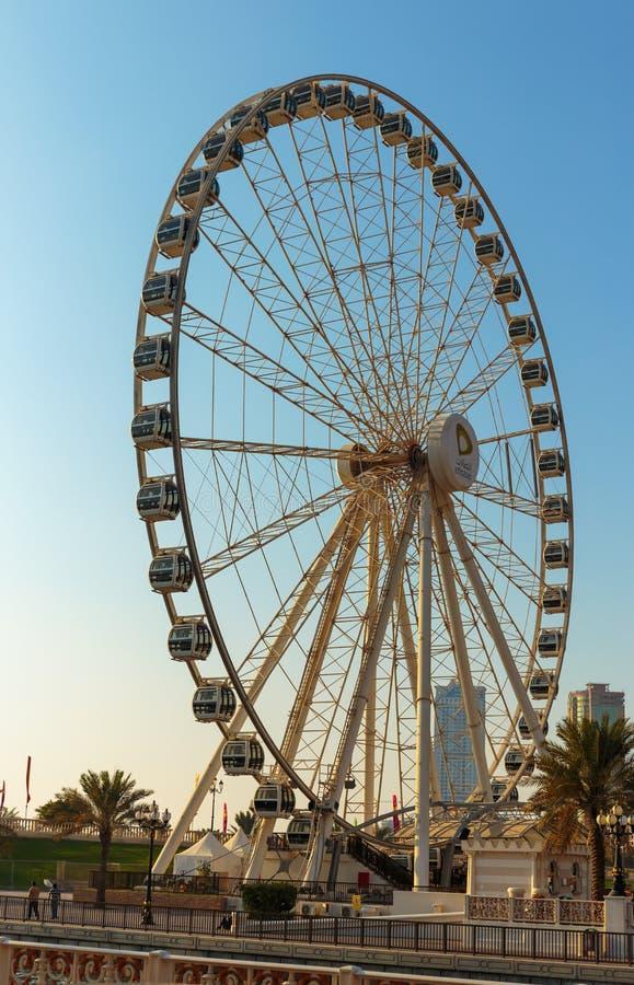 Oog van de Emiraten - ferris rijden in Al Qasba in Shajah, de V.A.E royalty-vrije stock foto's