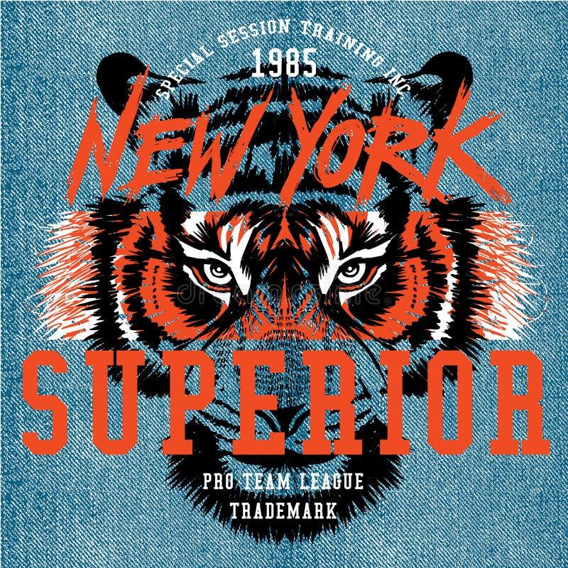 Oog van het de t-shirt grafische ontwerp van de tijgerillustratie stock illustratie