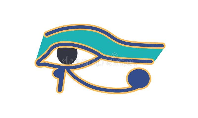 Oog van Horus of Wadjet, oud Egyptisch hiëroglyfisch teken of logograph geïsoleerd op witte achtergrond historisch stock illustratie
