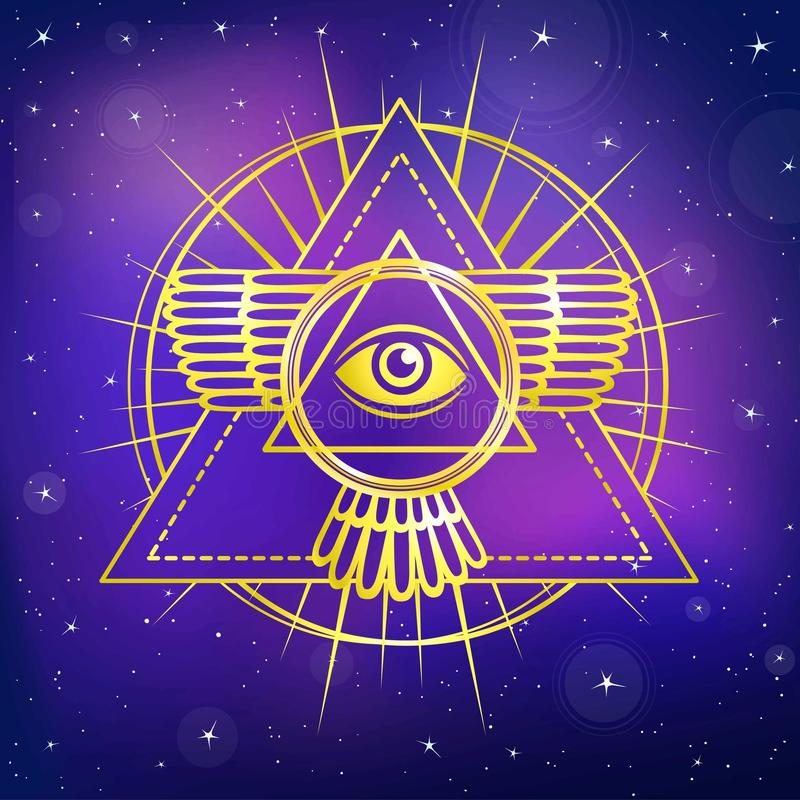 Oog van Voorzienigheid Allen die oog binnen driehoekspiramide zien stock illustratie