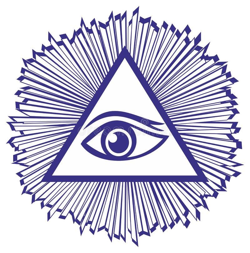 Oog van Voorzienigheid of allen die Oog van God zien - famou royalty-vrije illustratie