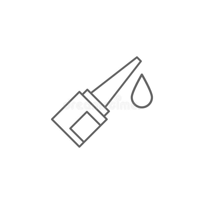 Oogdruppels, pictogram pillen Pictogram van het geneesmiddel Thin line pictogram stock illustratie