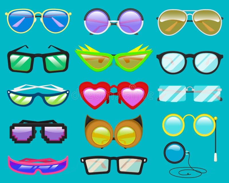 Oogglazen of zonnebril van het glazen de de vectorbeeldverhaal in hart grappige vorm voor partij en toebehoren voor hipstersmanie royalty-vrije illustratie