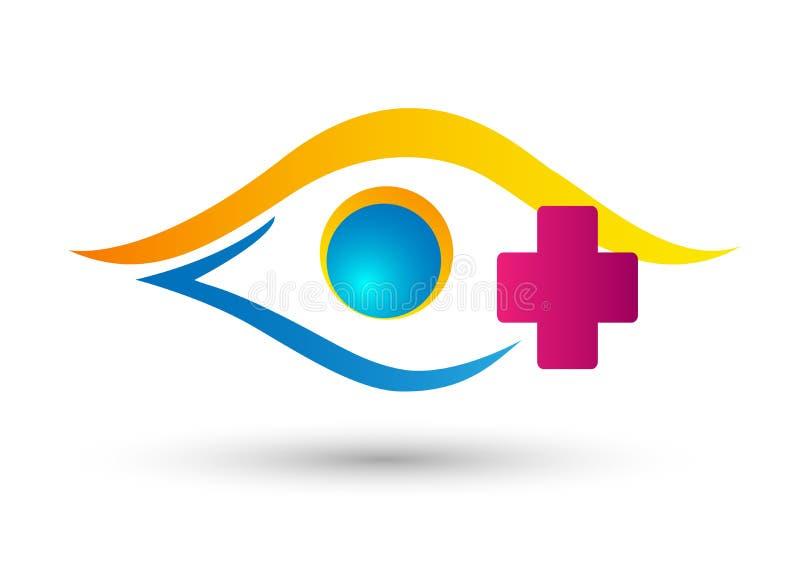 Oogkliniek, het medische embleem van de oogzorg op witte achtergrond stock illustratie