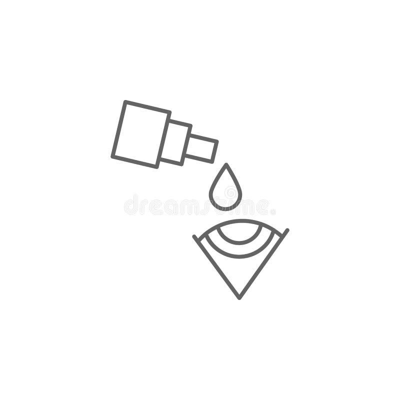 Oogoog, oogdruppels, pictogram Pictogram van het geneesmiddel Thin line pictogram stock illustratie