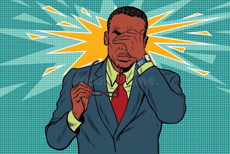 Oogpijn, moeheid en slechte visie stock illustratie