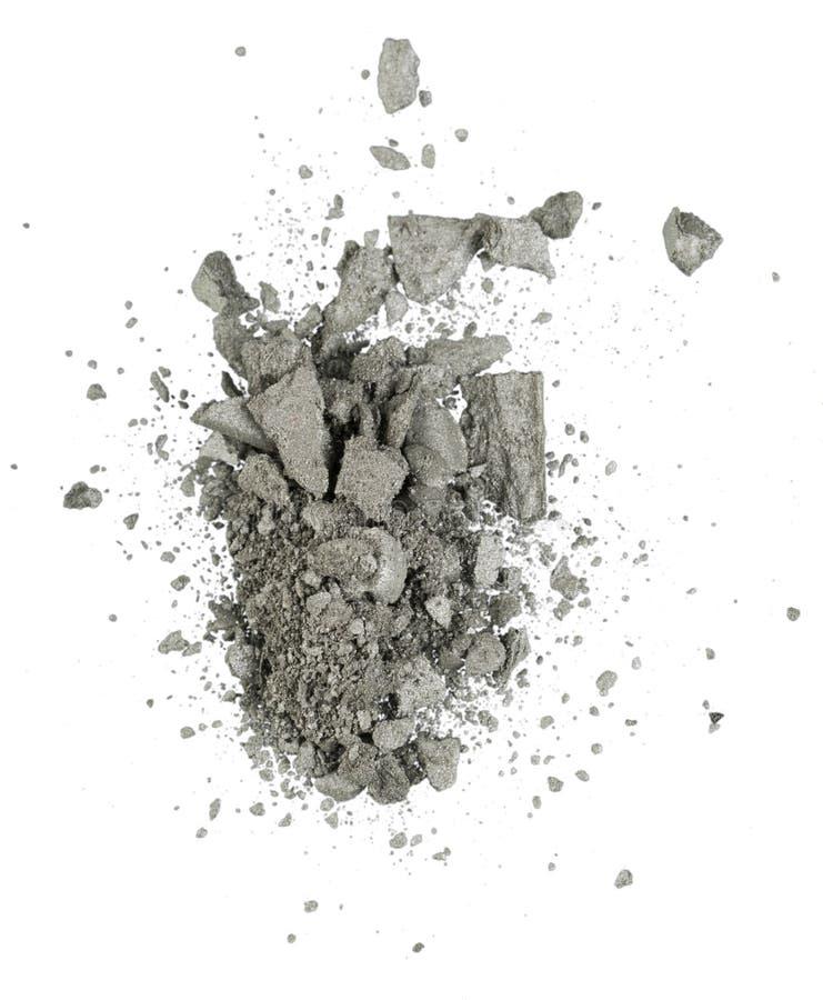 Oogschaduw verpletterd die schoonheidsmiddel op wit wordt geïsoleerd stock afbeelding