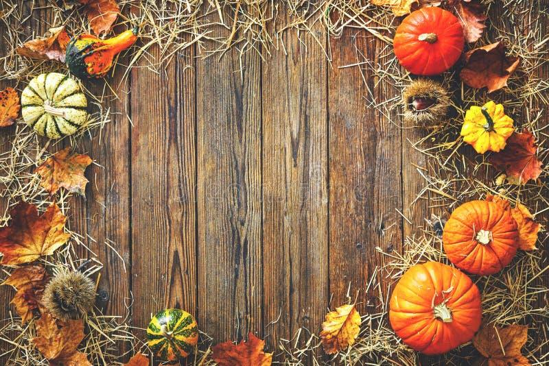 Oogst of Dankzeggingsachtergrond met pompoenen en stro royalty-vrije stock afbeelding